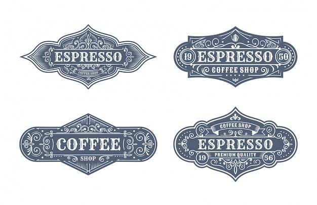 Satz weinlesekaffee-etikettendesign-, -kalligraphie- und -typographieelemente stalteten design an
