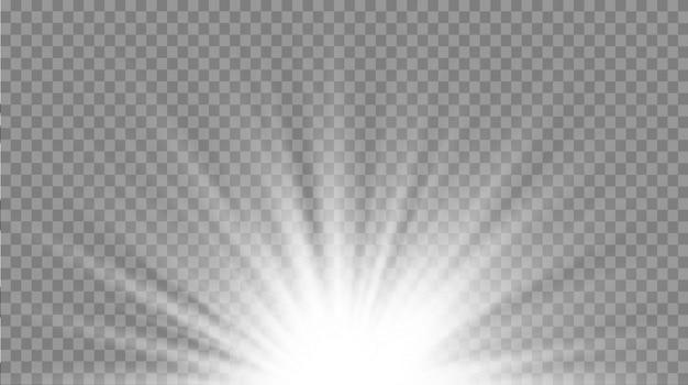 Satz weiß leuchtendes licht explodiert auf einem transparenten hintergrund. funkelnde magische staubpartikel. heller stern. transparent strahlende sonne, heller blitz. funkelt. lichteffekt.