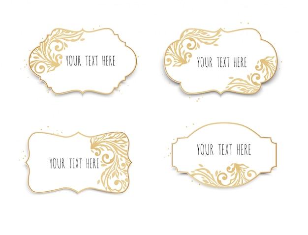 Satz weiß- und goldrahmen für text