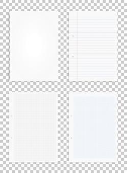Satz weißbuchblätter auf transparentem hintergrund.