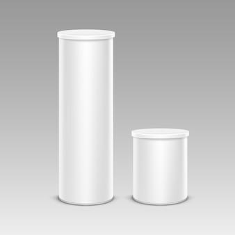 Satz weiße chips zinn-kasten-behälter-rohr für verpackungs-design-nahaufnahme lokalisiert auf hintergrund