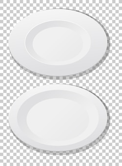 Satz weiße einfache platte draufsicht