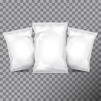 Satz weiße folienbeutelverpackung für lebensmittel, snacks, kaffee, kakao, süßigkeiten, cracker, nüsse, pommes.