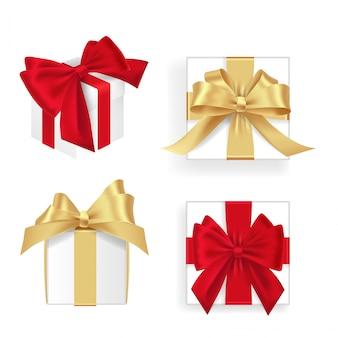 Satz weiße geschenkboxen rot und goldenes band. viele geschenke. flache dekoration sammlung. realistischer illustrationssatz der geschenkbox