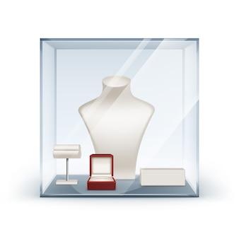 Satz weiße halskette ohrringe und armbandständer für schmuck mit roter schmuckschatulle in glasvitrine nahaufnahme isoliert auf weiß