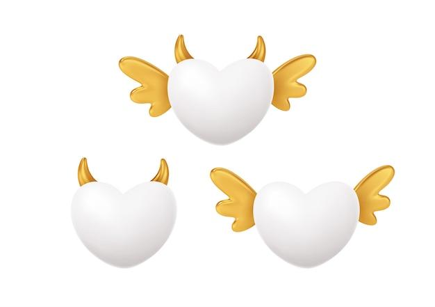 Satz weiße herzform mit goldenen flügeln und hörnern. konzeptsymbol für glücklichen valentinstag