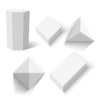 Satz weiße kisten. geometrische zahlen.