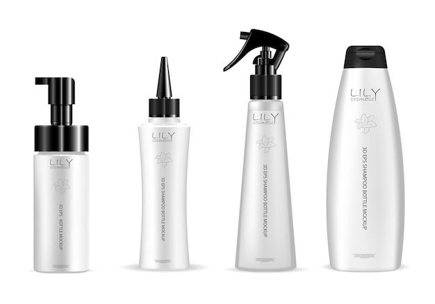 Satz weiße kosmetische flasche für haarpflegeprodukt