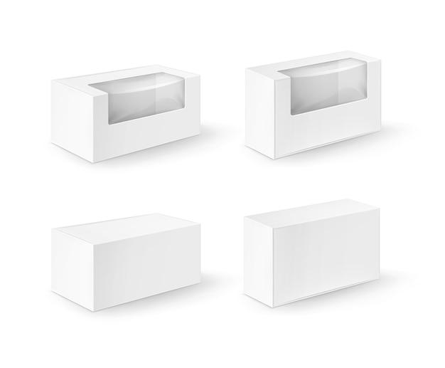 Satz weiße leere karton rechteck take away boxen verpackung für sandwich