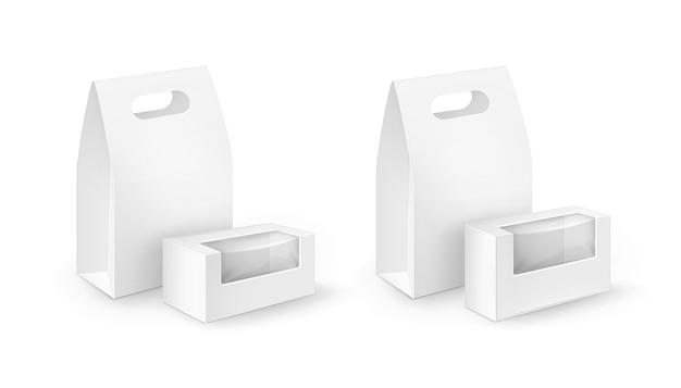 Satz weiße leere pappe rechteck zum mitnehmen griff lunchboxen verpackung für sandwich