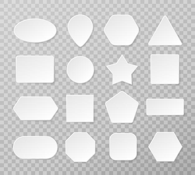 Satz weiße leere taste. weiße geometrische formen in einem trendigen weichen 3d-stil mit schatten.