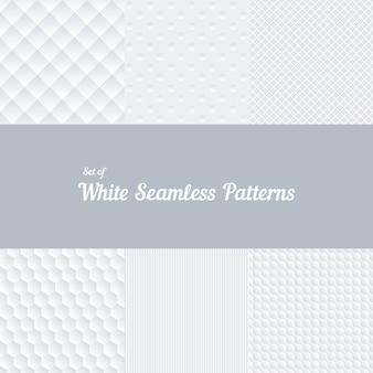 Satz weiße nahtlose muster. konvex und volumetrisch, streifen und frequenzweiche, quadrat und sechseck. vektorillustration