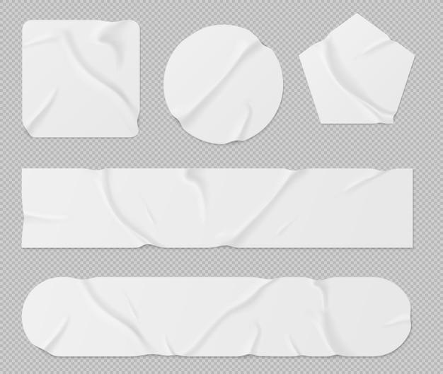 Satz weiße papieraufkleber