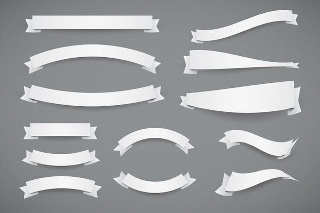 Satz weiße papierbanner flache bänder mit gestrichelter kontur