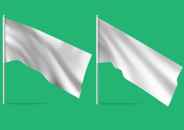 Satz weiße realistische flaggen