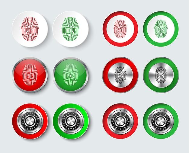 Satz weiße, rote und grüne runde tasten mit einem fingerabdruck und einem mechanischen zahlenschloss zum informationsschutz