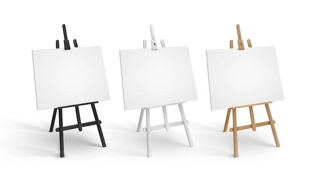 Satz weiße schwarze braune sienna-hölzerne staffeleien in der perspektive mit leeren leeren leinwänden