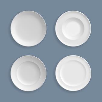 Satz weiße teller, schalen, schalen, vektorillustration. grafik des abstrakten konzepts des glaswarenelements