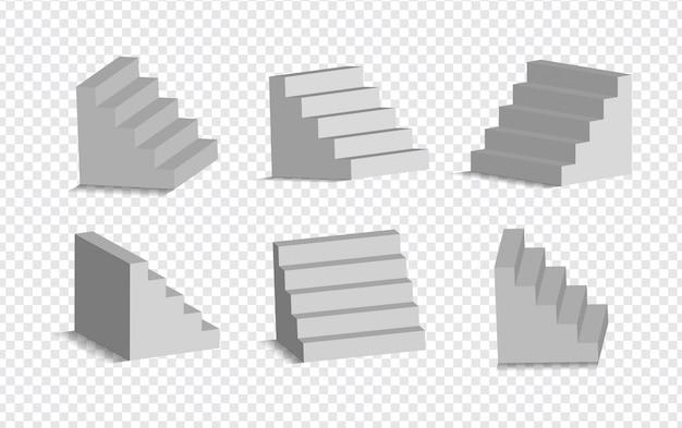 Satz weiße treppe 3d lokalisiert. architektonische weiße treppen, stufensammlung für innenillustration