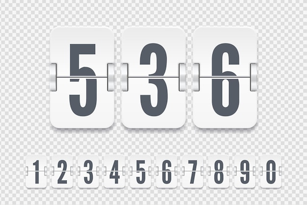 Satz weißer flip-anzeigetafelnummern mit schatten für countdown-timer oder kalender einzeln auf transparentem hintergrund. vektorvorlage für ihr design.