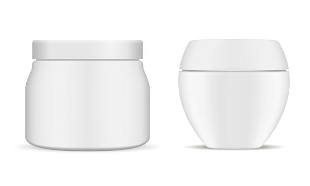 Satz weißes kosmetisches glas. realistischer behälter 3d.