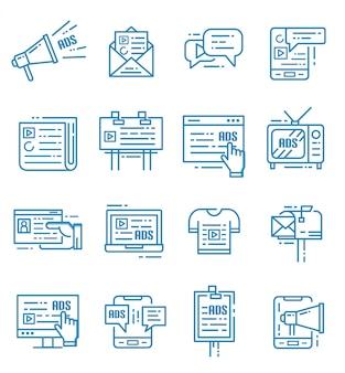 Satz werbungs- und marketing-ikonen mit entwurfsart