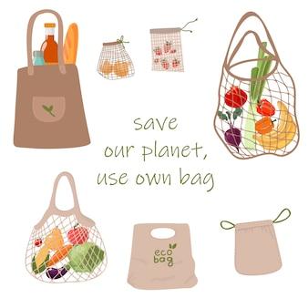 Satz wiederverwendbare lebensmittel-öko-tasche lokalisiert vom weißen hintergrund. null abfall (sag nein zu plastik) und lebensmittelkonzept.