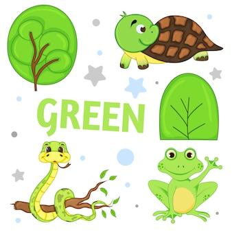 Satz wilde tiere und insekten für kindergrün