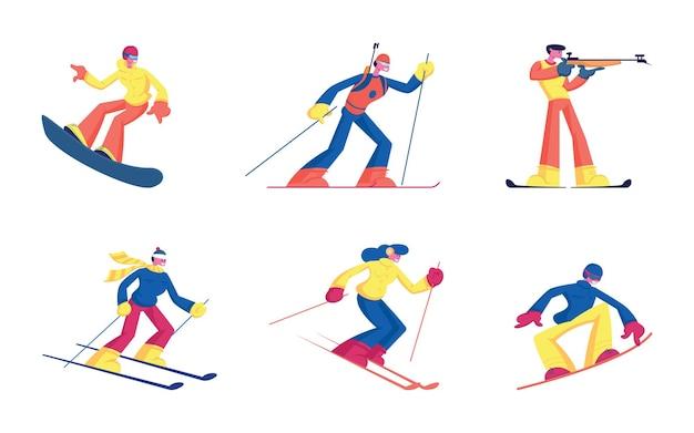 Satz winterarten von sportaktivitäten, die auf weißem hintergrund isoliert werden. karikatur flache illustration