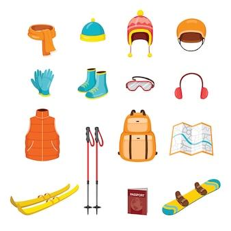 Satz winterausrüstungen und kleidung