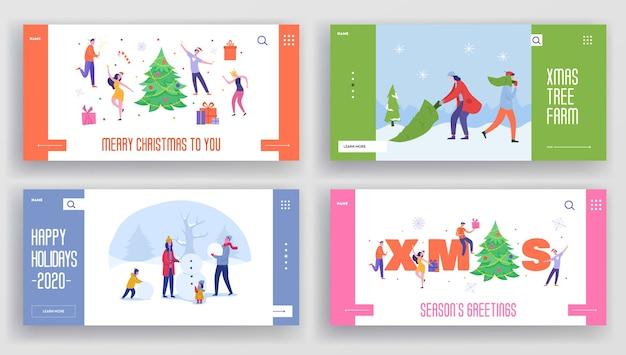 Satz winterferien landing pages vorlage. frohe weihnachten und ein gutes neues jahr website-layout mit menschen charaktere feiern. angepasste freunde-party der mobilen website.