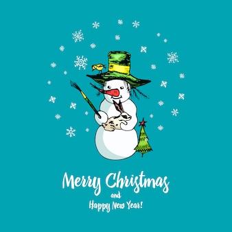 Satz winterferien-schneemann in verschiedenen kostümen. fotograf und künstler mit geschenken.