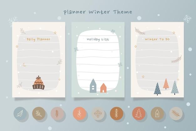 Satz winterferienplanerkarten mit handgezeichneter illustration der blauen cremefarben.