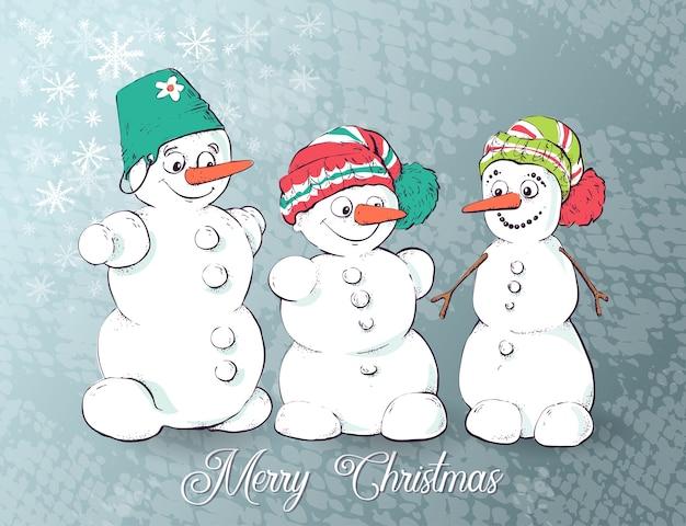 Satz winterferienschneemann. fröhliche schneemänner in verschiedenen kostümen.