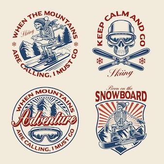 Satz wintersport unter dem motto für bekleidung
