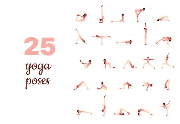 Satz winziger frauen, die yoga-posen ausführen. frauen üben asana