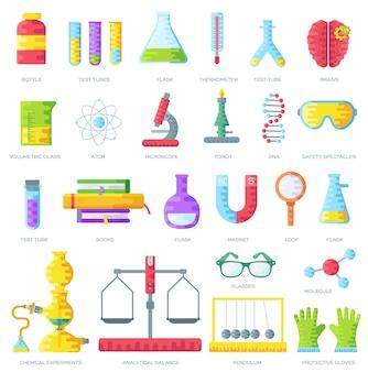 Satz wissenschaftlicher forschungselemente auf lila zusammenfassung