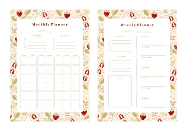 Satz wochenplaner, monatsplaner, schulplaner-vorlagen mit handgezeichneten kuchen-, blumen- und erdbeerelementen