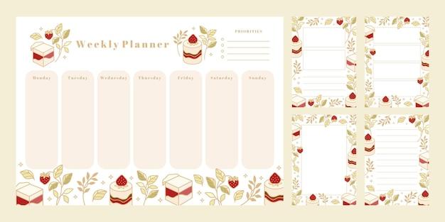 Satz wochenplaner, tägliche aufgabenliste, notizblockvorlagen, schulplaner mit handgezeichnetem kuchen, blumen- und erdbeerelementen