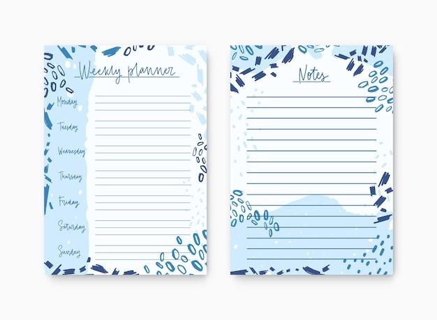 Satz wochenplaner und liste für notizenvorlagen, die mit abstrakten farbspuren und kritzeleien verziert sind