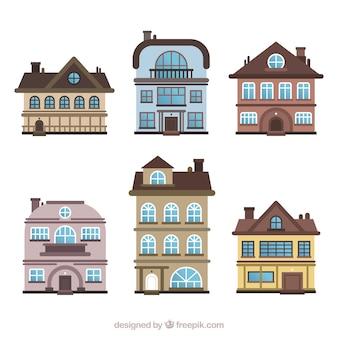 Satz Wohnhäuser in verschiedenen Modellen
