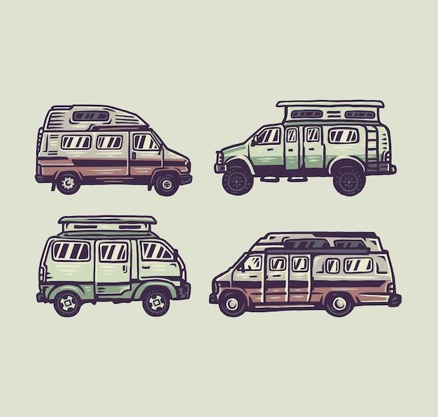 Satz wohnmobil, handgezeichnete linie stil mit digitaler farbe, illustration