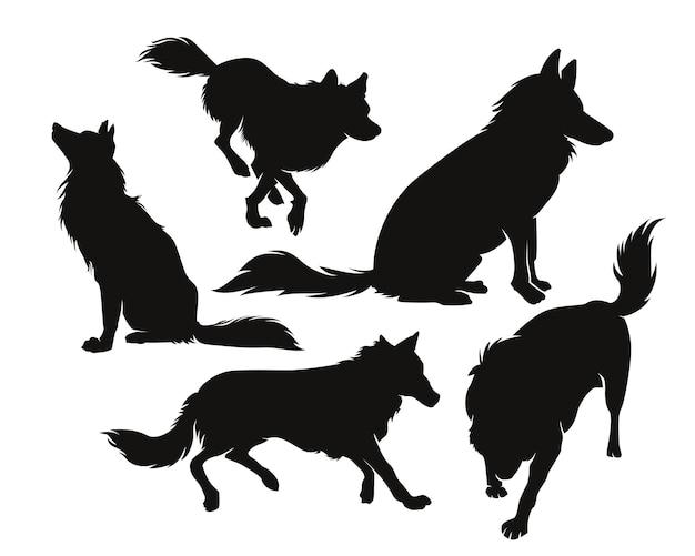 Satz wolfssilhouetten isoliert