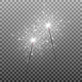 Satz wunderkerzen brennende lichter entzünden feuerwerk