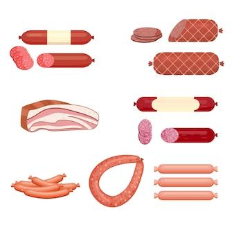 Satz wurst. speck. salami. geräuchert gekocht. scheiben. isoliert