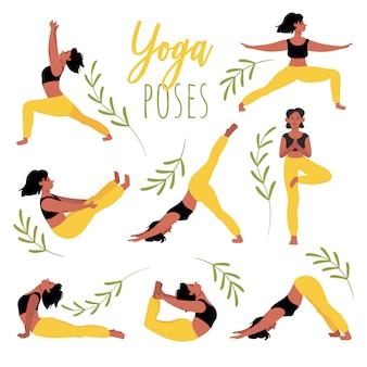 Satz yoga-posen. junge frau, die yoga praktiziert. entspannung, konzentration, gesunder lebensstil. satz illustrationen im karikaturstil lokalisiert auf weiß.