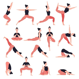 Satz yoga wirft weibliche zeichentrickfigur auf