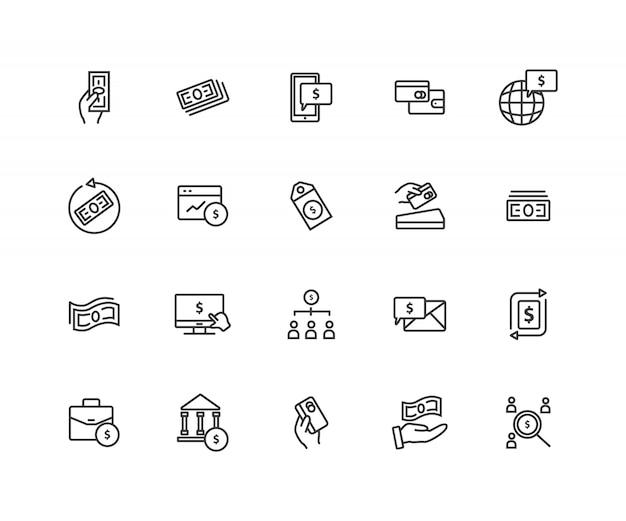 Satz zahlungs-in verbindung stehende linie ikonen