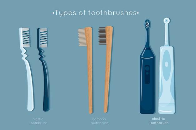 Satz zahnbürstenhygiene isoliert auf blau