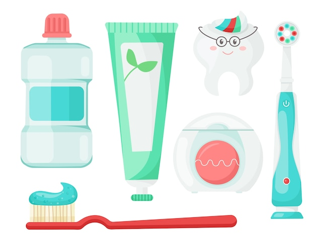 Satz zahnschutzprodukte. elemente für die mundhöhle.